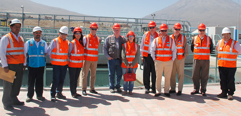 Tom Butler, ICMM CEO (fifth from left), joins Freeport-McMoRan's Red Conger along with other Freeport-McMoRan and Cerro Verde team members on a tour of company-funded water infrastructure projects in Arequipa, Peru.