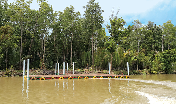 New boat docks supplement the water transportation services provided to Kamoro community members whose estuary transport routes are impacted by sedimentation associated with PTFI's controlled riverine tailings management system.